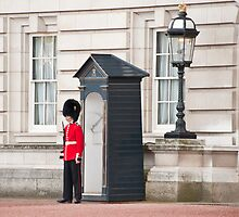 The Lone Sentry: Buckingham Palace, London, UK. by DonDavisUK