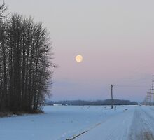 Moonset over the Prairies, Alberta by ArianaMurphy
