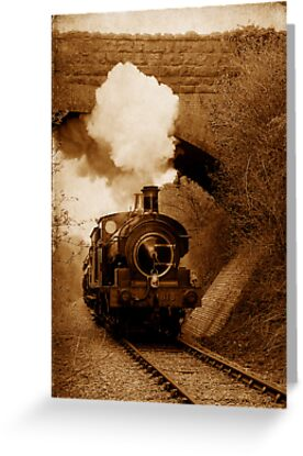 Buy e greeting cards uk - Steam train going under bridge, Shepton Mallet, Somerset, UK Greeting Cards & Postcards