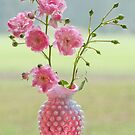 Roses in Hobnail Vase by Bonnie T.  Barry