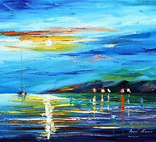 MORNING BY THE HARBOR - Original Art Oil Painting By Leonid Afremov by Leonid  Afremov