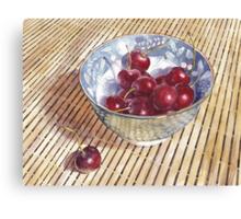 Cherries on Bamboo Canvas Print