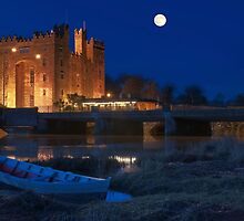 Irish Castle, Bunratty Castle at Night, County Clare, Ireland by upthebanner