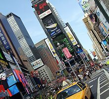 new york city, times square, taxi by upthebanner