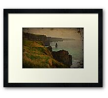 Cliffs of Moher, Grunge landscape, county clare, ireland Framed Print