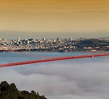 Panoramic sunset san francisco cityscape, golden gate bridge by upthebanner