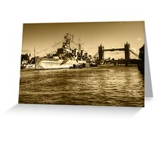HMS Belfast and Tower Bridge 2 in Sepia Greeting Card