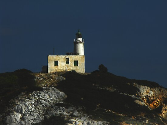 Greek  light house  by larry flewers