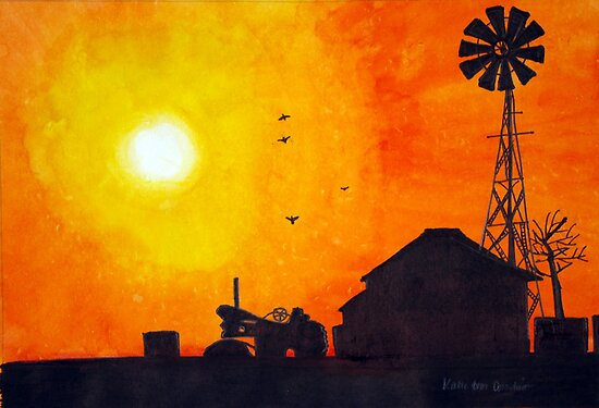 Home on the Range: Barn and Windmill Silhouette by Katie Cornelison