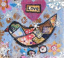 christmas patchwork birdie by sue mochrie