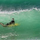 Bodyboarding inside a wave by Murray Swift