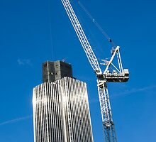 Tower 42 with crane by Russell Bruce