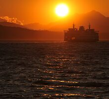 Puget Sound at Sunset by andyessex