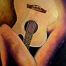 "Nude with a Gold Guitar by Belinda ""BillyLee"" NYE (Printmaker)"