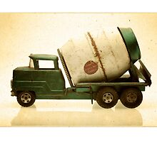 Green antique toy cement truck by krzyz