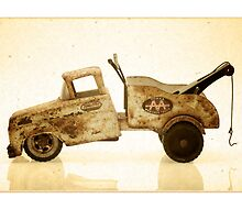 White antique toy tow truck by krzyz