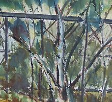 Old Trestle Bridge Pyalong Victoria by Margaret Morgan (Watkins)