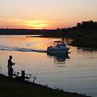 Fishing at Sunset, Lake Boondooma by aussiebushstick