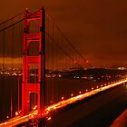 The Golden Gate bridge at night by meadowt
