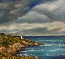Summer storm- Start point lighthouse by Eve Monteiro
