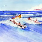 Dory Race in San Clemente Ca by Rob Beilby