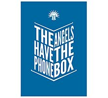 The Angels Have The Phone Box Tribute Poster White On Blue Photographic Print