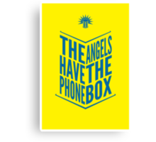 The Angels Have The Phone Box Tribute Poster Dark Blue On Yellow Canvas Print