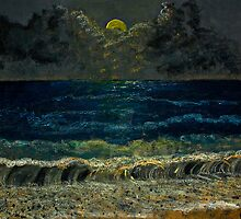 Ocean waves at night by Antonella  Macri