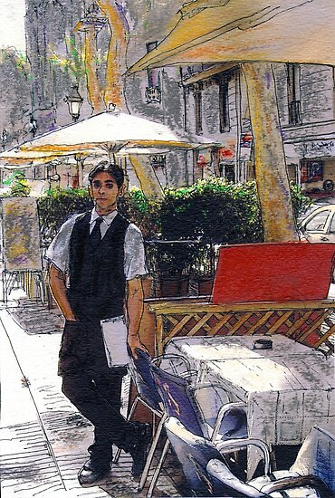 Waiter on La Rambla by Randy Sprout