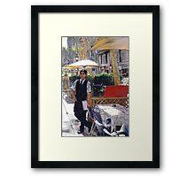 Waiter on La Rambla Framed Print