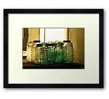 Old Glass Jars and Bottles Framed Print
