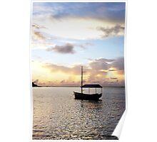 Muri sunset - Muri Lagoon, Rarotonga Poster