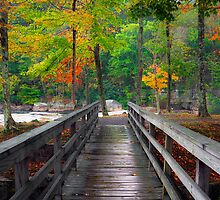 Valley Falls: Autumn Bridge by LeeAnne Emrick