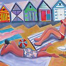 Sunbathers Brighton Beach by Karin Zeller