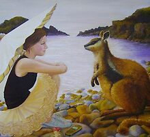 Rockstar and the Rock Wallaby, 2006, oil on canvas. by fiona vermeeren