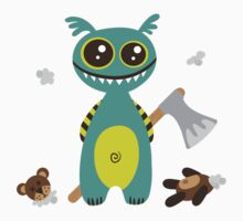 Cute Monster with Headless Teddy by VectoryBelle