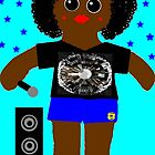 Little Rapper Rag Doll Wearing Mommy's Art 8 by Deborah Lazarus