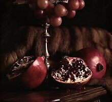 Pomegranate & Grapes by Rachel Slepekis