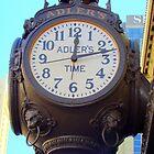 Huge Clock Outside of Adler's  by Wanda Raines
