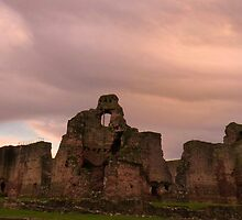 Winter Sunset, Rhuddlan Castle by artfulvistas