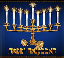 Golden Hanukkah poster by Lotacats