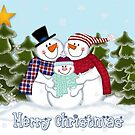 Snowman Family Merry Christmas Card by Linda Allan