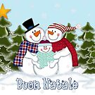 Snowman Family Buon Natale Christmas Card by Linda Allan