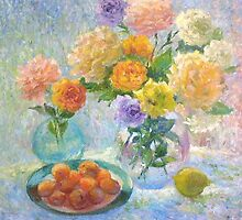 Still life with apricots and roses by Julia Lesnichy