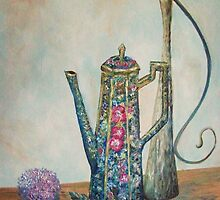 Cobalt Chocolate Pot Still-life with urn and flowers by rokinronda