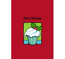 Christmas Holly Cupcake red Photographic Print