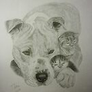 Bindi the American Pit Bull Terrier & His Little Friends by Istvan froghunter