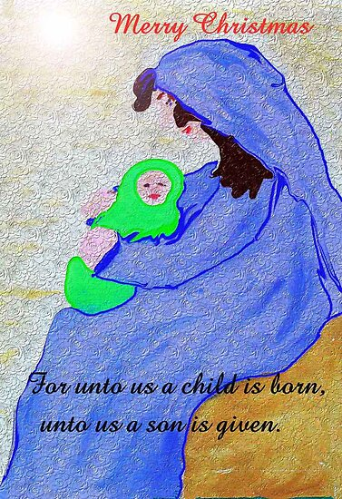 Mother and Child, Christmas Card by MaeBelle