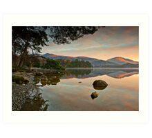 Dawn sunlight on Blencathra summit Art Print