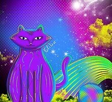 cat with yarn by elilu